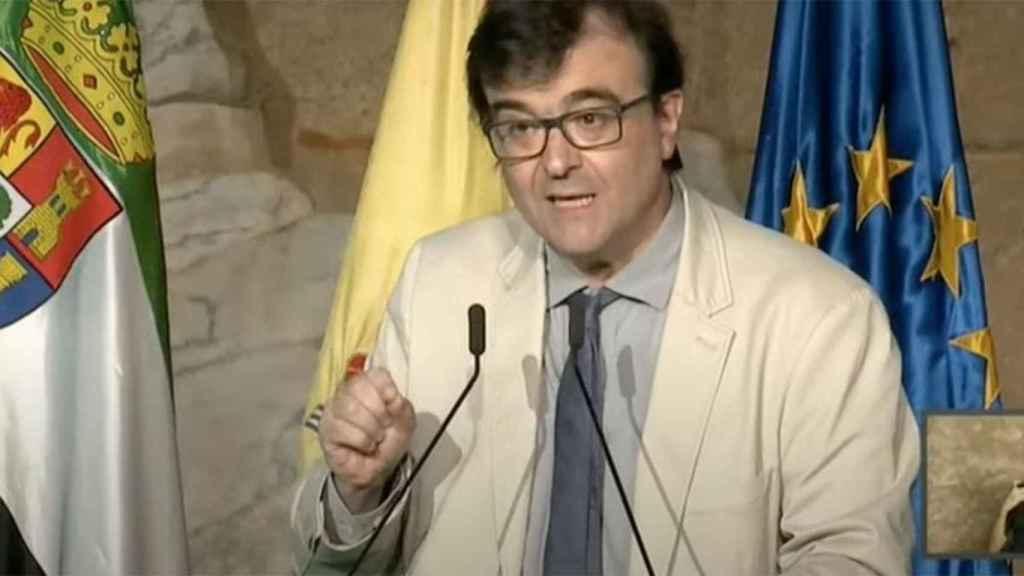 Cercas, durante su comentado discurso de 2019 en Extremadura.