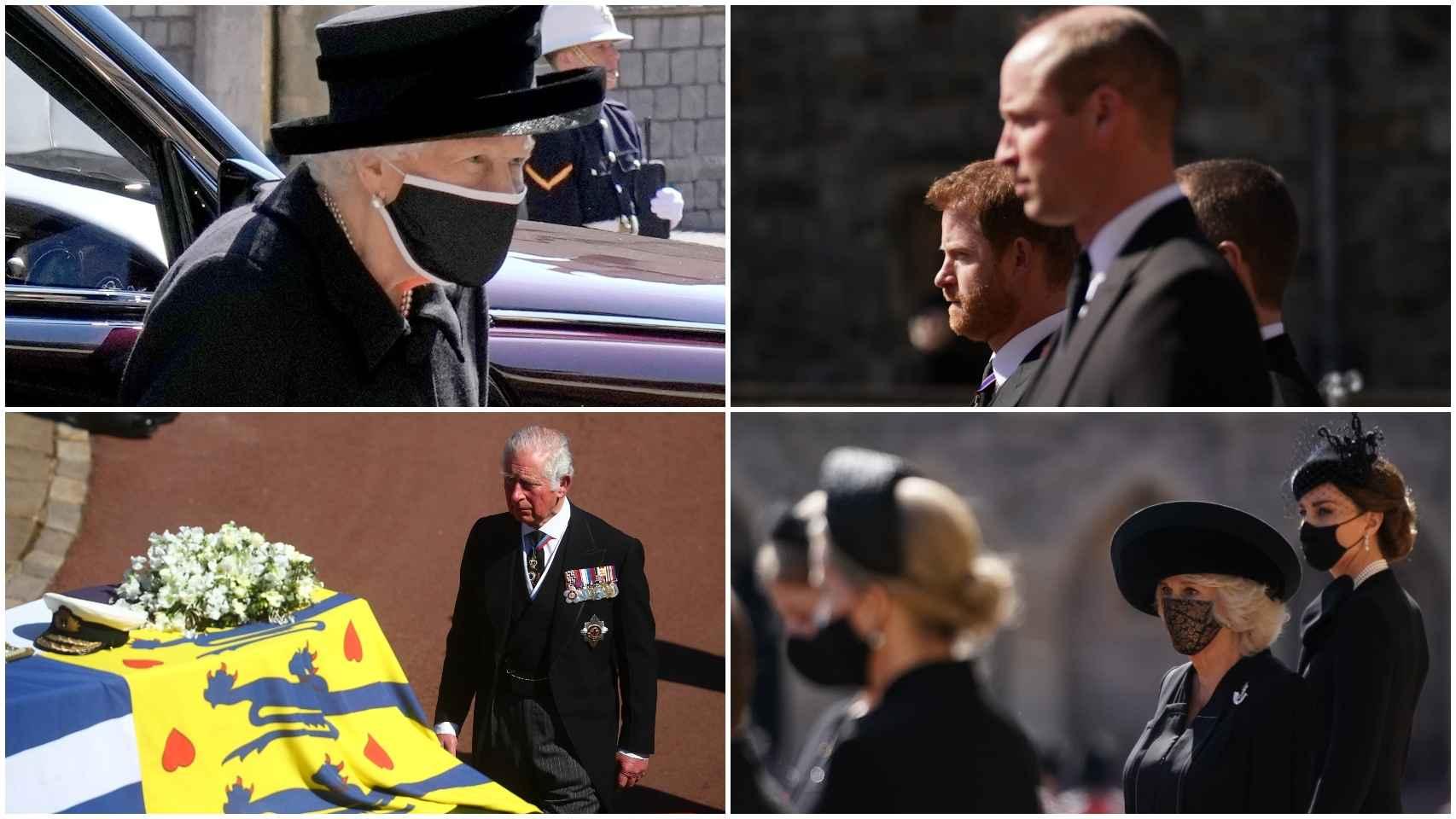 Miembros de la Familia Real británica despiden al duque de Edimburgo.