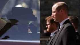 La reina Isabel II se seca una lágrima en su coche y sus nietos, Guillermo y Harry, en el desfile tras su abuelo, el duque de Edimburgo.
