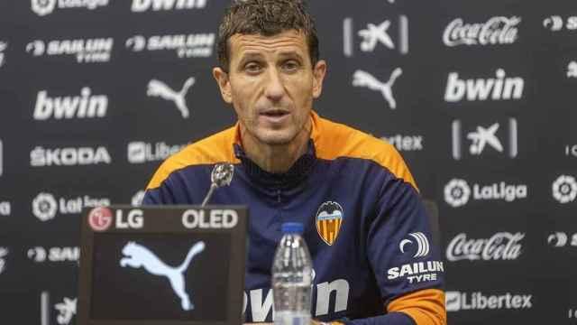 Javi Gracia, en rueda de prensa con el Valencia