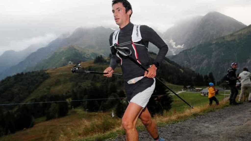 Kilian Jornet durante una carrera en Los Alpes