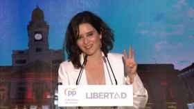 Isabel Díaz Ayuso durante el mitin.