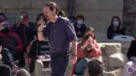 Pablo Iglesias, durante su mitin en Alcalá de Henares Iglesias.