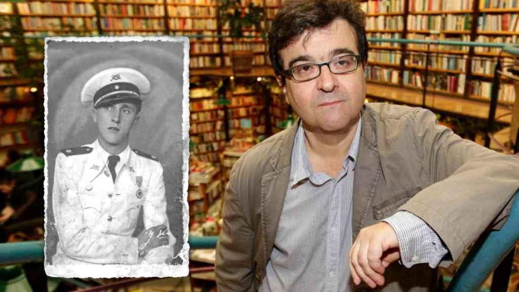 A la izquierda, en blanco y negro, Manuel Mena, el tío abuelo falangista de Javier Cercas. A la derecha, el propio escritor.