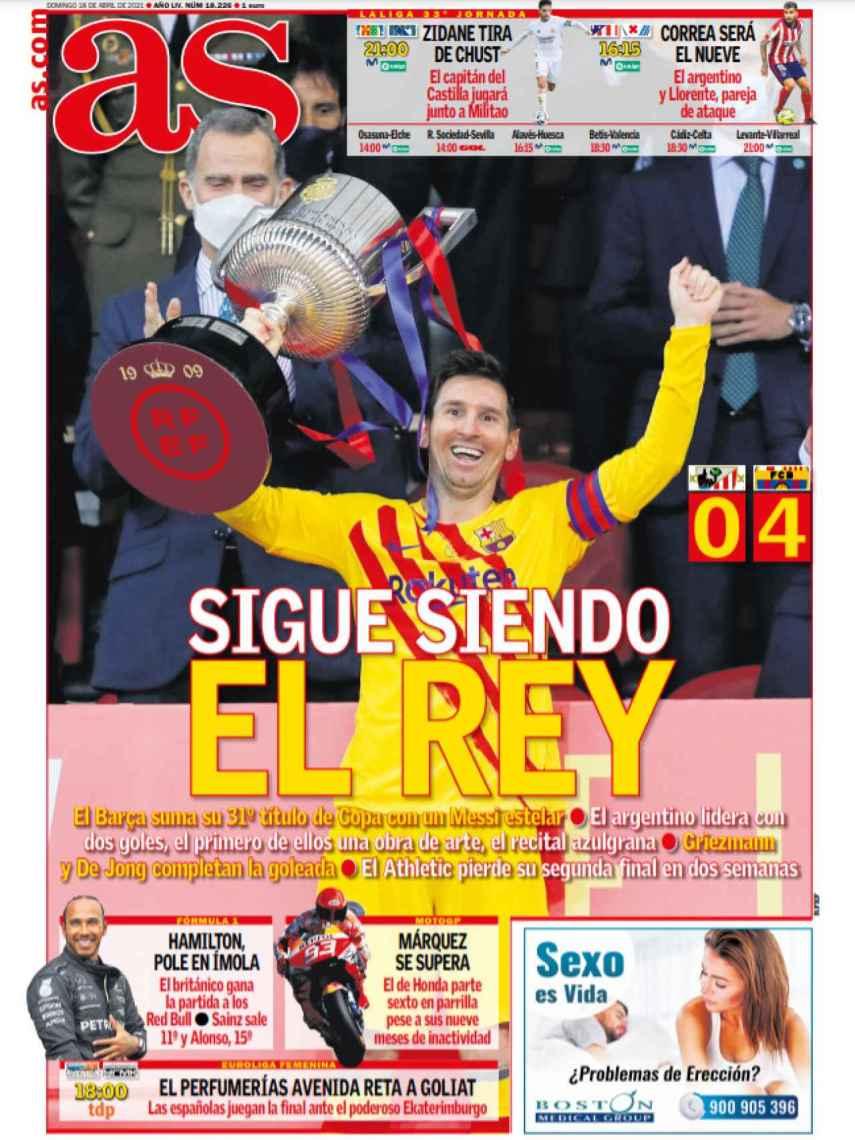 La portada del diario AS (18/04/2021)