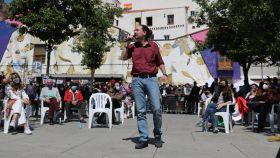 El candidato de Podemos a la Presidencia de la Comunidad de Madrid, Pablo Iglesias, en su primer mitin de campaña en Lavapiés.