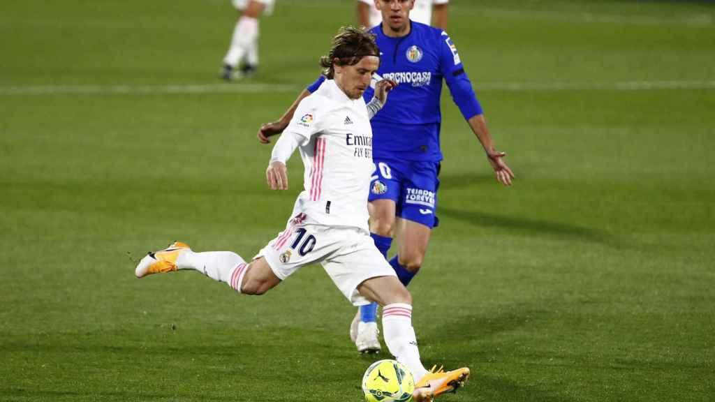 Luka Modric, en acción en el Getafe-Real Madrid de Liga.