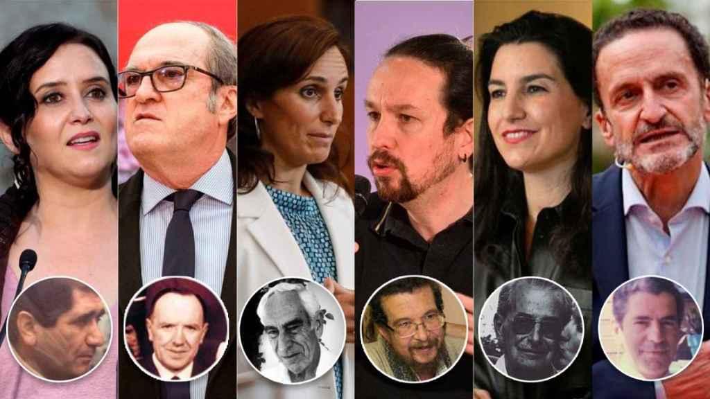 De izquierda a derecha: Isabel Díaz Ayuso, Ángel Gabilondo, Mónica García, Pablo Iglesias, Rocío Monasterio y Edmundo Bal. Debajo, sus respectivos padres.