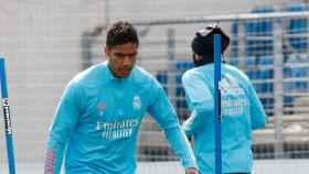 Raphael Varane, durante un entrenamiento con el Real Madrid