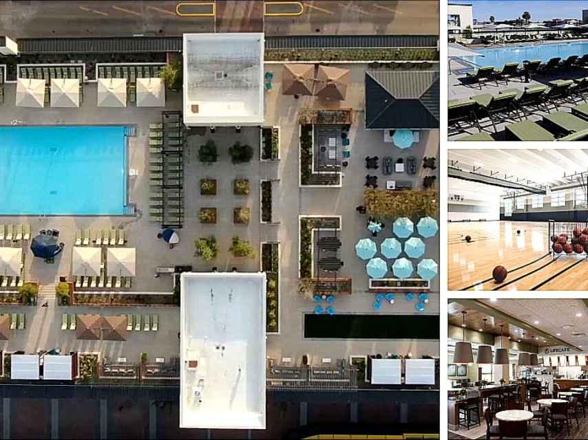 Vista aérea del impresionante gimnasio, y, a la derecha, algunas de sus instalaciones.