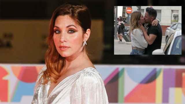 Leire Martínez en montaje de JALEOS junto al apasionado beso con su pareja.