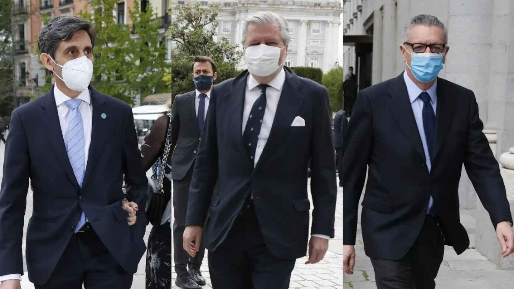 José María Álvarez Pallete, Íñigo Méndez de Vigo y Alberto Ruiz-Gallardón en un montaje de JALEOS.