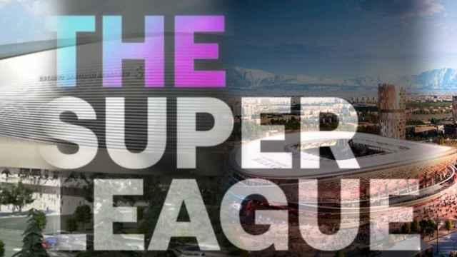 El nuevo Santiago Bernabéu o el nuevo San Siro en un fotomontaje con el logo de la Superliga Europea