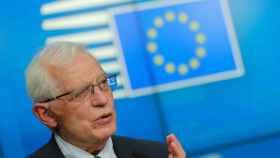 El jefe de la diplomacia de la UE, Josep Borrell, durante la rueda de prensa de este lunes