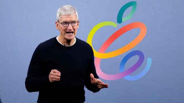 Montaje de Tim Cook, CEO de Apple, con el logo del Apple Event.