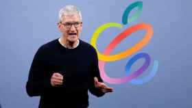 Montaje de Tim Cook, CEO de Apple, con el logo del Apple Event.