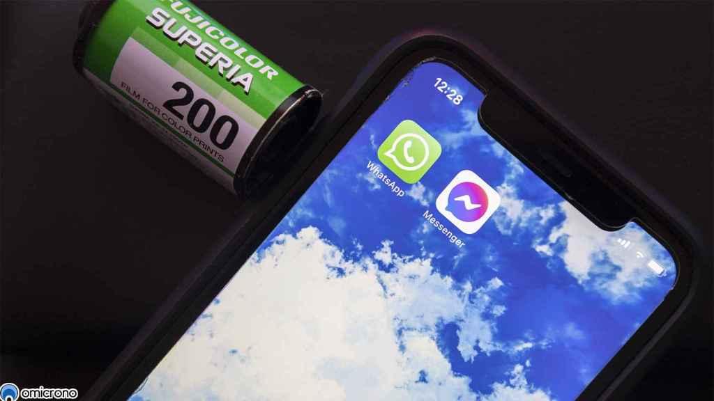 Aplicaciones de Messenger y WhatsApp juntas.
