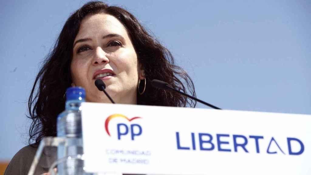 Isabel Díaz Ayuso durante el acto de campaña en Las Rozas.