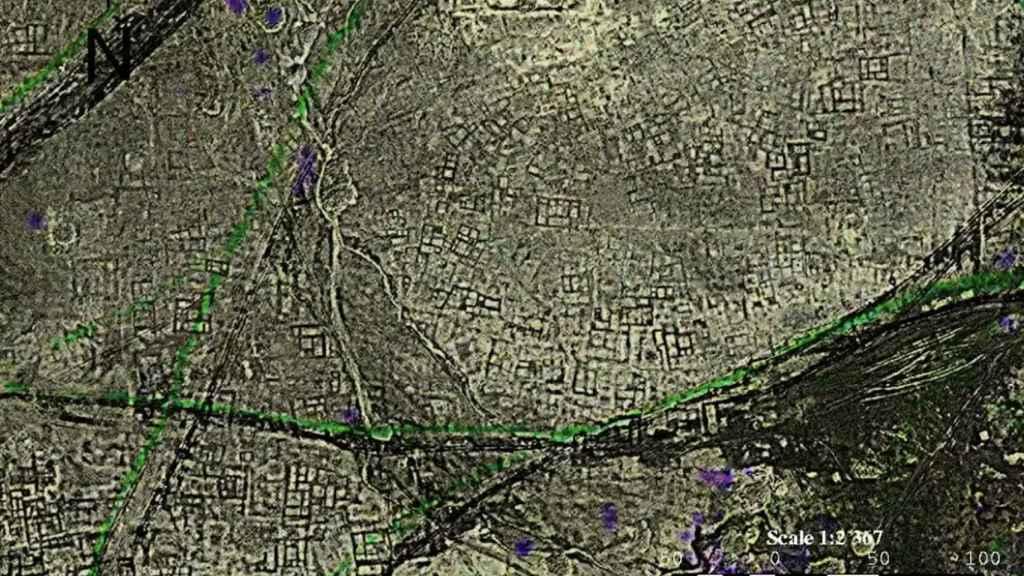 Imágenes de satélite de los restos de Tanis en Egipto.