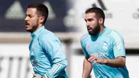 Eden Hazard y Dani Carvajal, durante un entrenamiento del Real Madrid