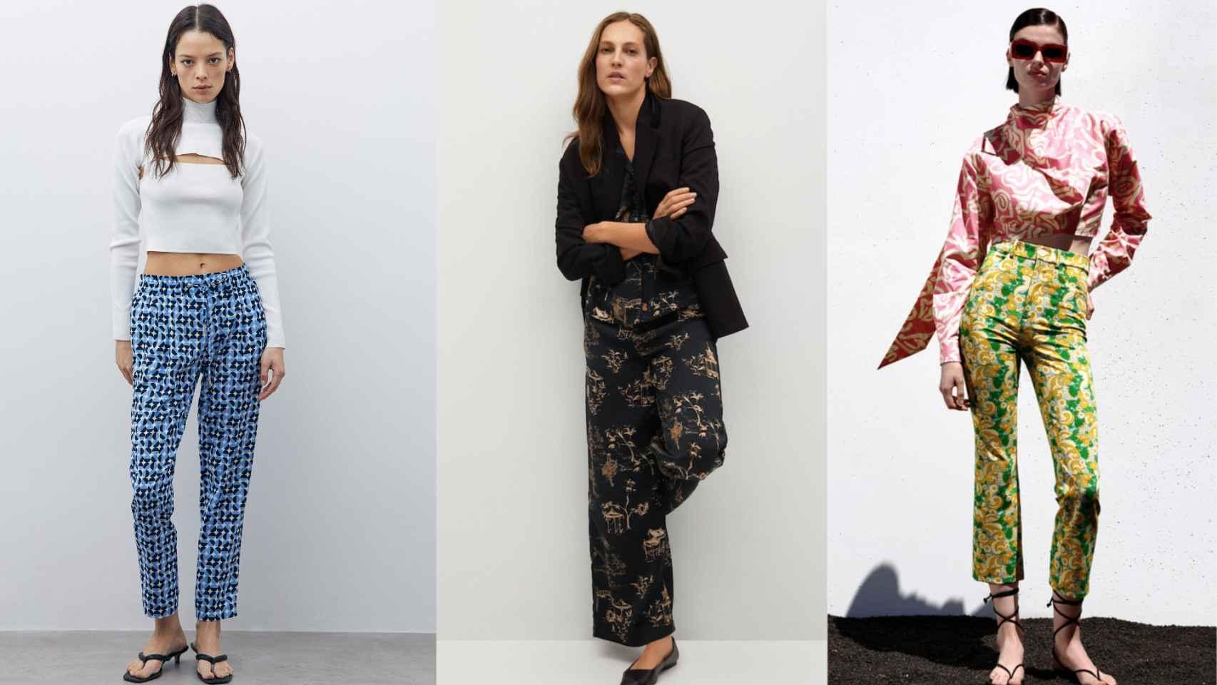 Tres pantalones estampados, tendencia esta temporada, en un montaje de JALEOS.