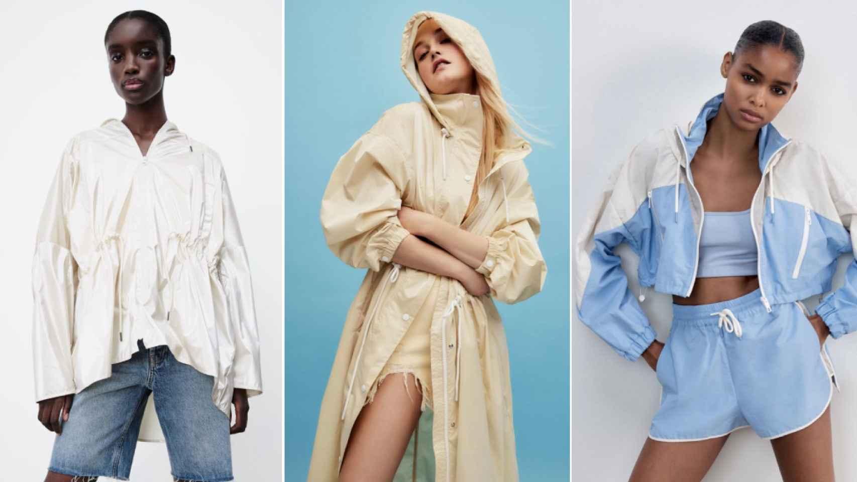Tres de los chubasqueros de Zara, en un fotomontaje de JALEOS.