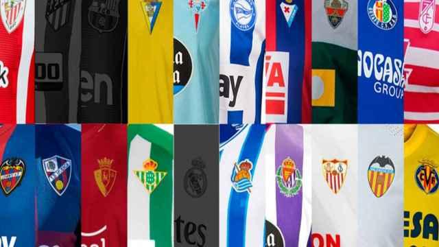 Las camisetas de los 20 equipos de LaLiga, con las Atlético de Madrid, FC Barcelona y Real Madrid sombreadas