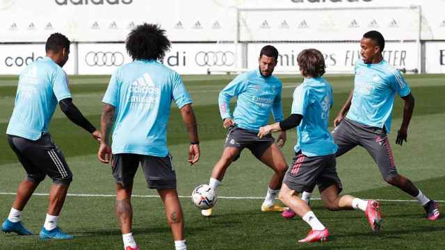 Casemiro, Marcelo, Eden Hazard, Luka Modric y Eder Militao, durante un entrenamiento del Real Madrid