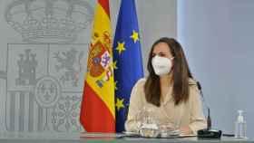 Ione Belarra, ministra de Derechos Sociales, en la sala de prensa del Consejo de Ministros.