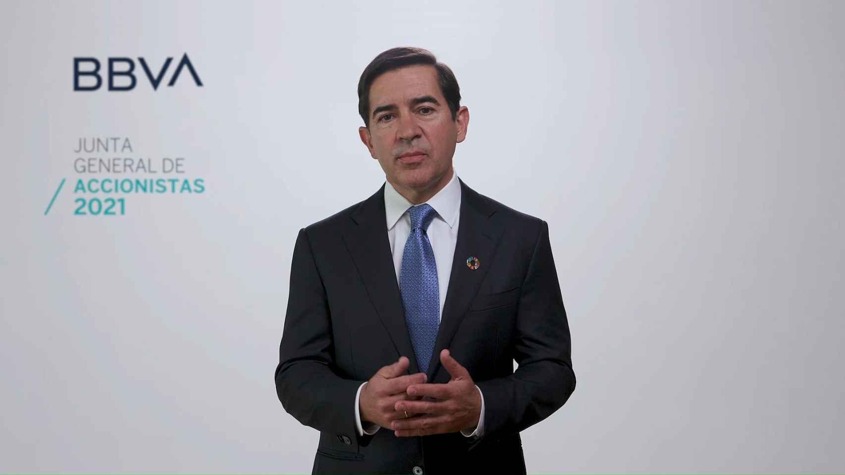 Carlos Torres interviene en la junta de accionistas de BBVA.