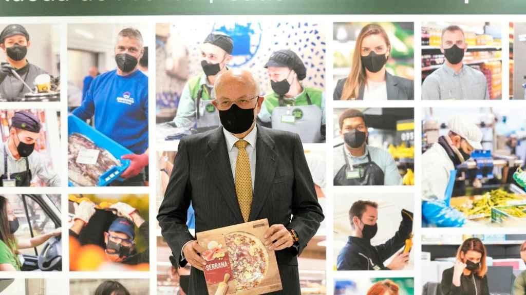 Juan Roig, presidente de Mercadona, durante su rueda de prensa de este martes. EE