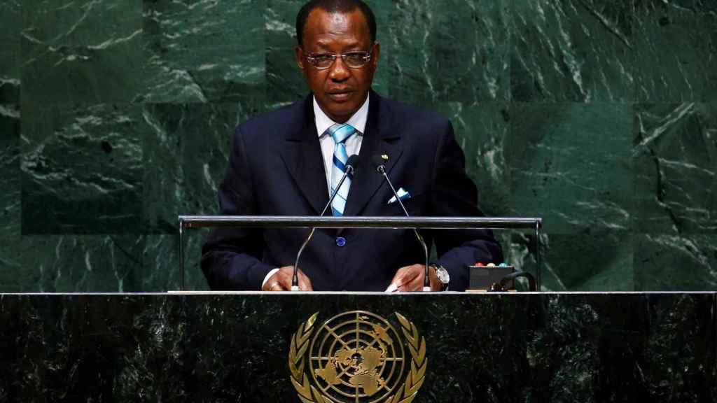 Idriss Deby en la sede de la ONU.