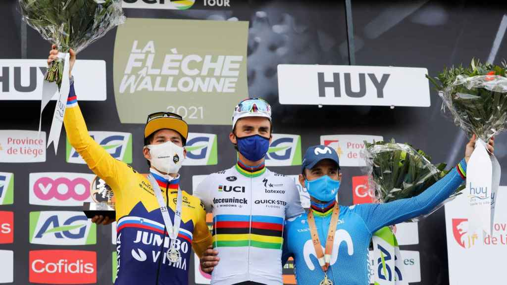 El podio de la Flecha Valona de 2021 con Primoz Roglic, Julian Alaphilippe y Alejandro Valverde