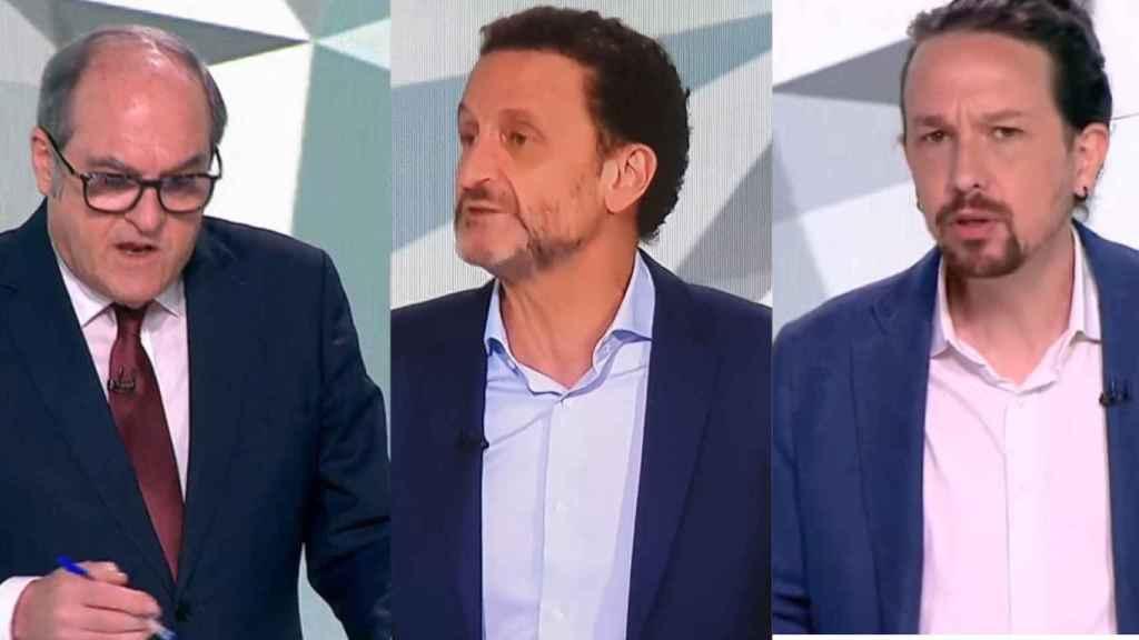 Los tres candidatos masculinos a la Comunidad de Madrid en un montaje de JALEOS.