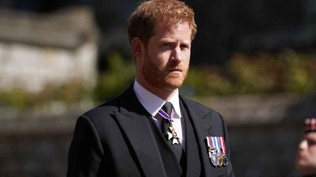 El príncipe Harry en una imagen en el funeral de su abuelo el duque de Edimburgo.