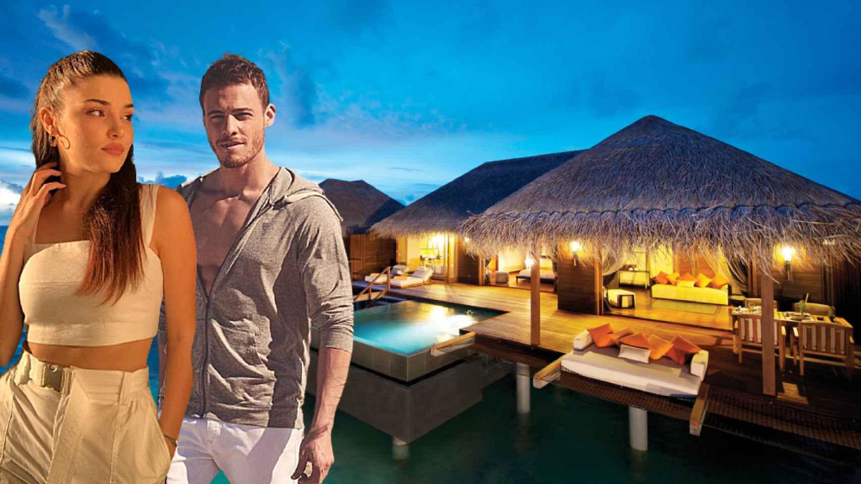 Hande Erçel y Kerem Bürsin, en el hotel que se han alojado en Maldivas, en un fotomontaje de JALEOS.