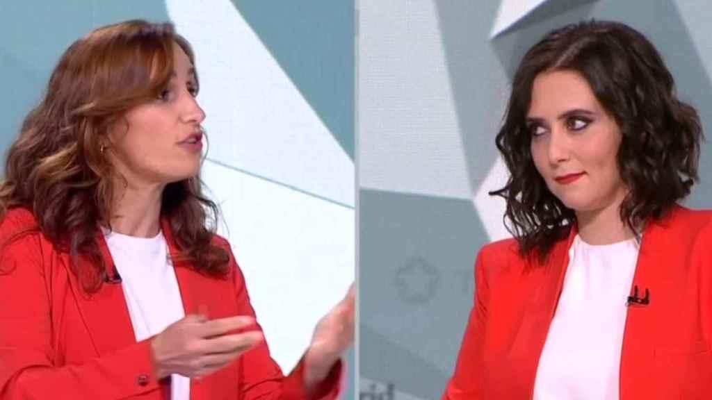Isabel Díaz Ayuso y Mónica García en el debate a la presidencia de la Comunidad de Madrid.