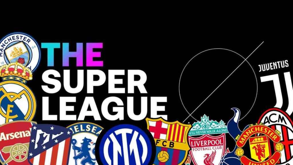 Logo de la Superliga Europea con los escudos de los doce clubes que firmaron el acuerdo inicialmente