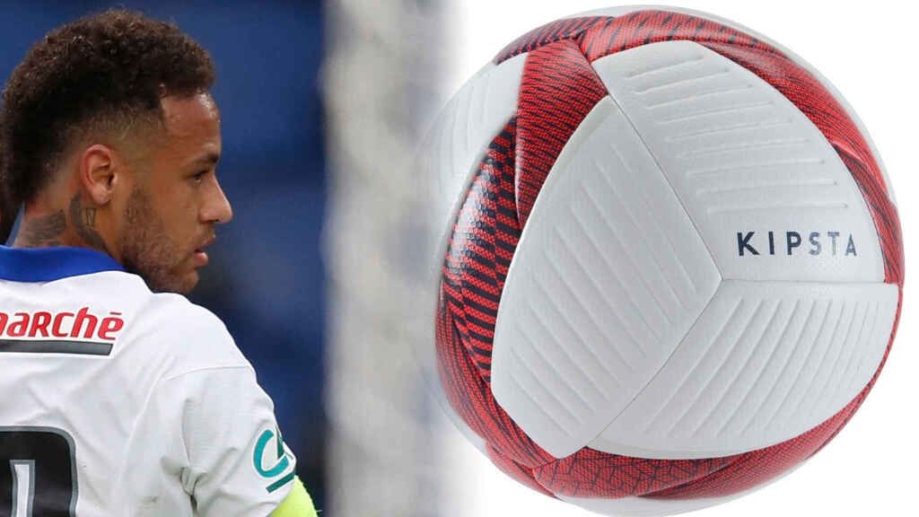 Neymar Jr. y un balón Kipsta, en un fotomontaje