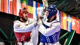 El taekwondondista ilicitano Raúl Martínez en un combate.