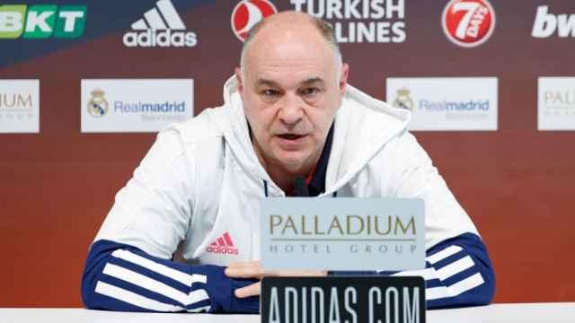 Pablo Laso, en rueda de prensa de la Euroliga