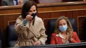 Carmen Calvo, durante su intervención parlamentaria de este miércoles.