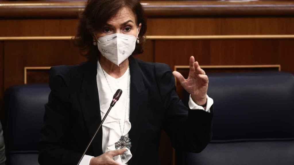 Carmen Calvo, vicepresidenta del Gobierno, en el Congreso de los Diputados.