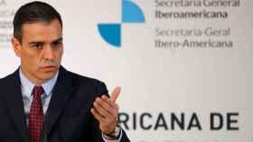 El presidente del Gobierno español, Pedro Sánchez, durante la rueda de prensa al término de la Cumbre Iberoamericana.