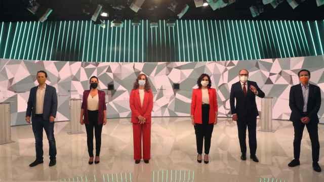 Los seis candidatos a la Presidencia de la Comunidad de Madrid en el debate de Telemadrid.