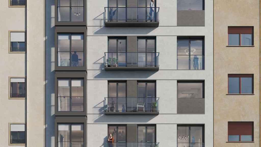 Fachada principal de un proyecto inmobiliario.