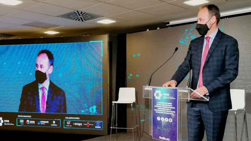 El consejero Celdrán, durante la presentación de la Federación Nacional de Digitalización y Blockchain.
