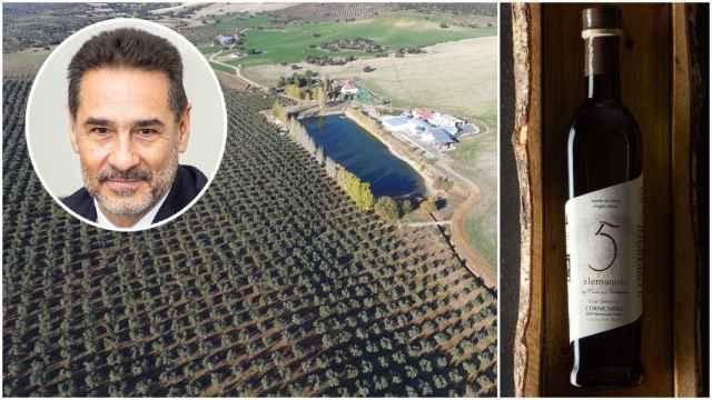 Juan Antonio Gómez-Pintado, dueño de Finca La Pontezuela, y el aceite Gran Selección 5 Elementos, elegido como el mejor cornicabra de España en 2021.