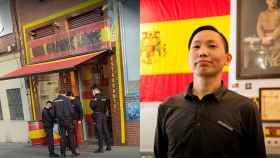 A la derecha, un grupo de policías en la terraza del bar Una grande libre. A la izquierda, su dueño, Chen Xiangwei.