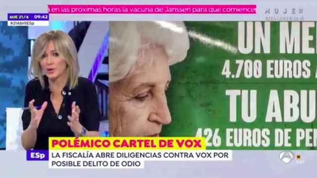 Captura del vídeo de 'Espejo Público' en el que Griso critica el cartel de Vox.